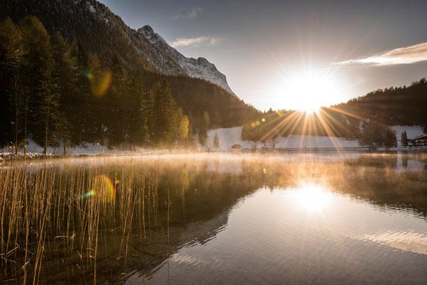 Sonnenuntergang am Lautersee bei Mittenwald / Deutschland (Bildnummer 6061)