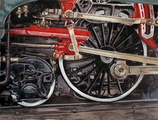 Train rouge, 55 x 45 cm, vendu