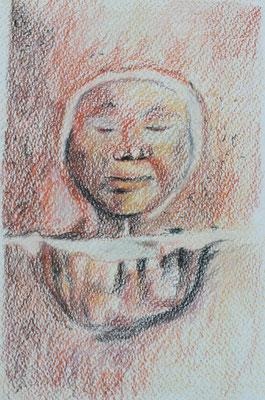 bénitier de Guimiliau, crayons, 50 €