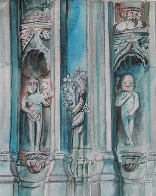 Adam et Eve, Landivisiau, aquarelles, 90 €