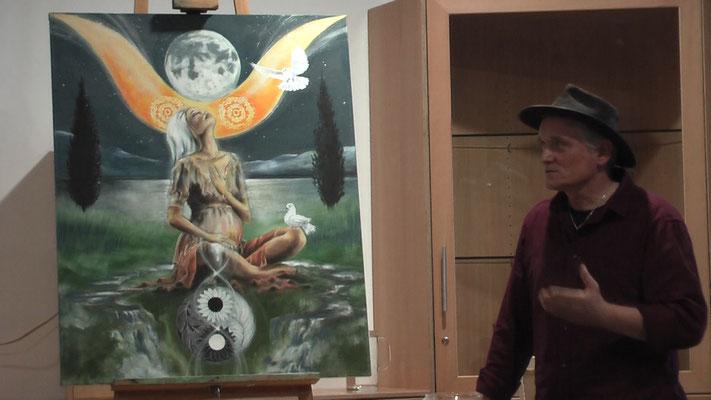 Die Weise Frau Hohepriesterin, gemalt von Jopie Bopp, SakisTarot