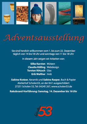 Plakat einer Adventsausstellung 2013 in Scholen