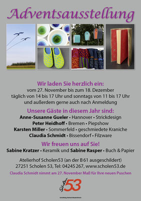 Plakat einer Adventsausstellung 2016 in Scholen