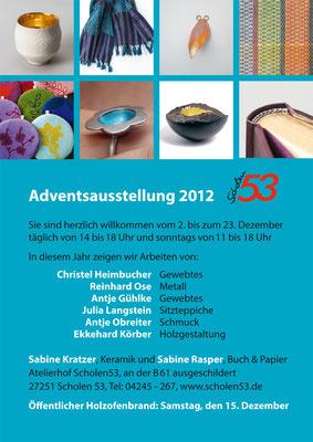 Plakat einer Adventsausstellung 2012 in Scholen