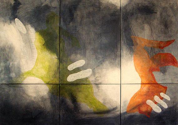 live it, love it - life, 2012, 6-teilig, Acryl-Mischtechnik/Leinwand, 150x210 cm