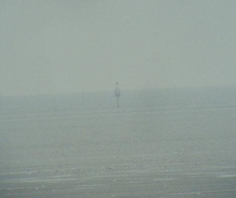 Eine Person befindet sich auf der Rettungsbake5 © FF-Duhnen