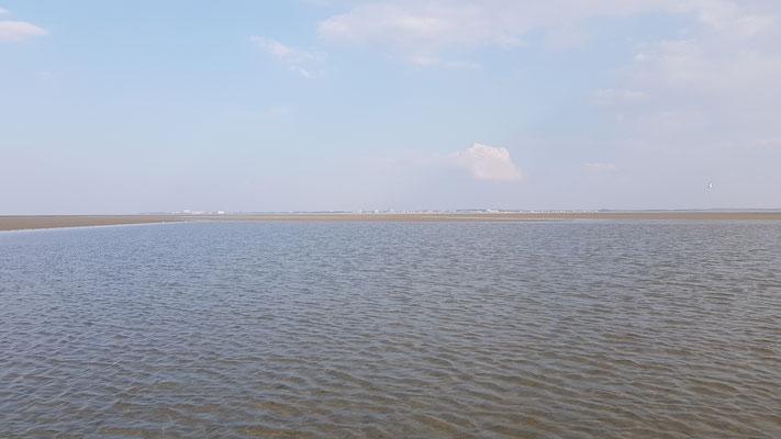 Die Cuxhavener Küste im Hintergrund, ca. 5 Kilometer entfernt