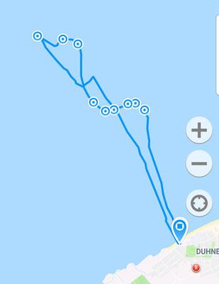Die gelaufenen Rohdaten auf dem Kartenplotter, gelaufene Gesamtstrecke ca. 12 Kilometer.