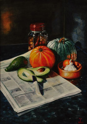 'My Still Life 2'; acrylic on canvas on board, 68 x 50 cm (26.8 x 19.7 inch).