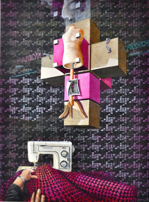 """My Parents Daughter & Hyper Cube"", 2013; acrylic on canvas, 130 x 95 cm, (51.2 x 37.4 inch)."