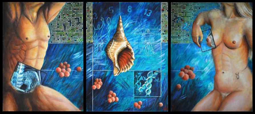 """Ideal Beauty"", 2014; acrylic on board, 85 x 190 cm, (74.8 x 33.5 inch)."