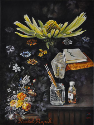 """Living Craft 1 - Rachel Ruysch"", 2014; oilpaint, thread and needle on canvas, 80 x 60 cm, (31.5 x 23.6 inch)."