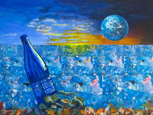 """Blue Harmony?"", mixed media collage+open acrylic, 60 x 80 cm"