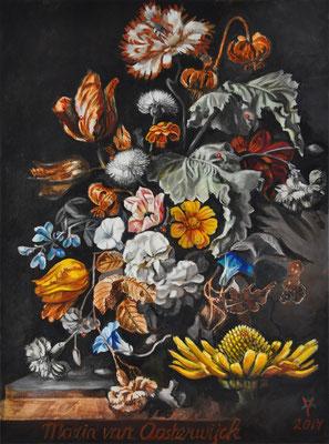 """Living Craft 2 - Maria van Oosterwijck"", 2014; oilpaint on canvas, 80 x 60 cm, (31.5 x 23.6 inch)."