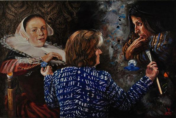 """Three Graces"", 2015; acrylic on canvas, 80 x 120 cm, (31.5 x 27.24 inch)."