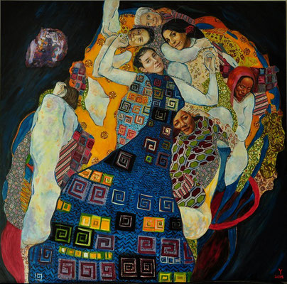 """Comment on Klimt - Christine Lagarde, Jung Chang, Lita Cabellut, Maryam Mirzakhani, Y.J.A. Welman, Khandro Rimpoche, Alice Coltrane"", 2015; acrylic and fabric on canvas; 147,5 x 150 cm, (58.27 x 59.6 inch)."