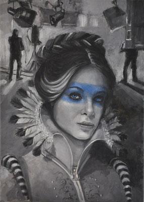 """""""Cliché 1 - Film Set Blue Lady"""", 2015; acrylic on canvas, 70x50cm, (27.56 x 19.69 inch)."""