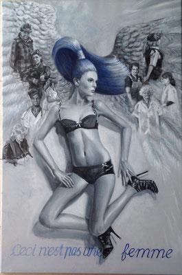 """""""Çliché 2 - Ceci n'est pas une Femme"""", 2016; acrylic on canvas, 101 x 67 cm, (39.8 x 26.4 inch)."""