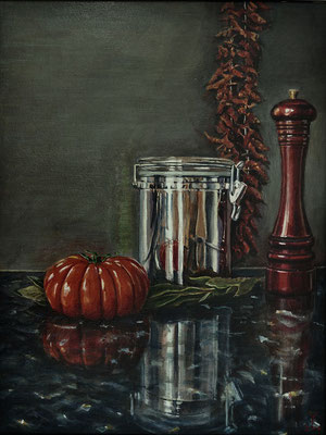 'My StillLife 1'; acrylic on canvas on panel, 54 x 41 cm (21.3 x 16.1 inch).