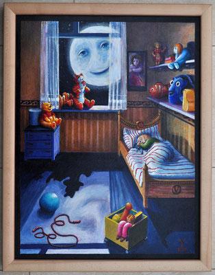 'Maantje Tuurt', acrylic on canvas on board,