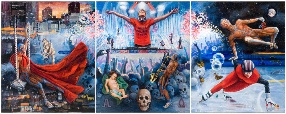 """Dance Macabre Event"", open acrylic, printable PVC sheets, 120 x 300 cm"