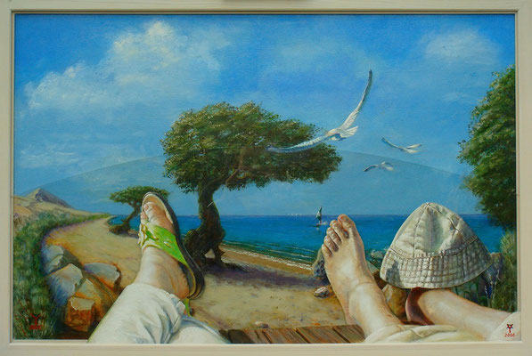 'Tropical Feet', acrylic on canvas, plexiglass,