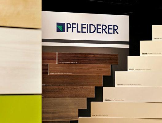 Messearchitektur für Pfleiderer auf der HolzHandwerk 2014 in Nürnberg. Foto: Andreas Keller
