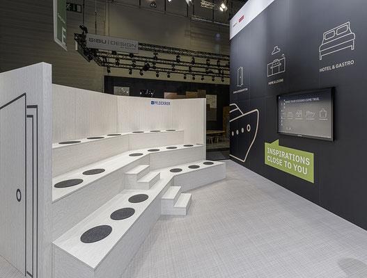 Messe-Architektur für Pfleiderer auf der INTERZUM 2019, Foto: S. Röhler