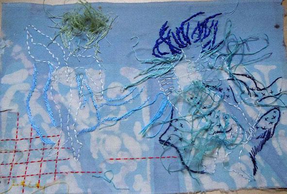 Trance 5, Baumwollstoff bemalt, bestickt 27 x 23 cm