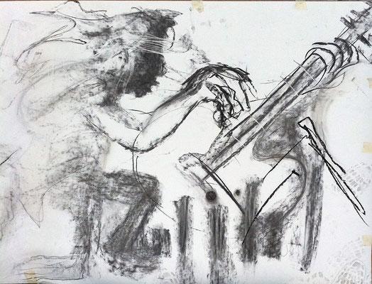 HeavyMetal, 80x120, Kohle/Grafit auf Papier, 2017