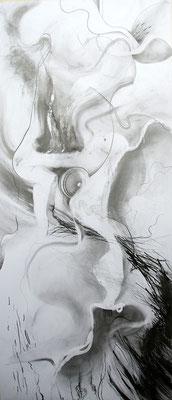 """Sturm"", Graphit auf Papier, 80 x 180 cm"