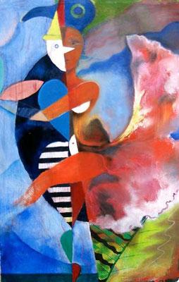 Paradiesvogel, Acryl auf Leinwand, 100 x 140 cm