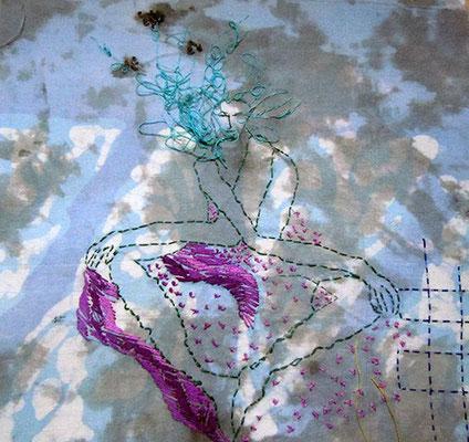 Trance 1, Baumwollstoff bemalt, bestickt 27 x 23 cm