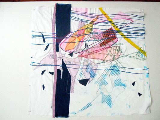 Mittenzwischendurch, Baumwolle Applikation bestickt, 80 x 86 cm
