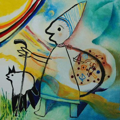"""""""Wandern"""", Acryl auf Leinwand, 80 x 80 cm"""