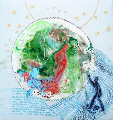 Drei Welten, Applikation bestickt, 53 x 59 cm