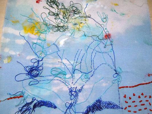 Trance 2, Baumwollstoff bemalt, bestickt 27 x 23 cm