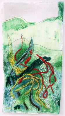 Veridatis, Leinen bemalt und bestickt, 18 x 29 cm