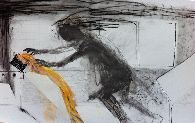 Oh, DuschöneSuppe, 80x160, Kohle/Grafit auf Papier, 2017