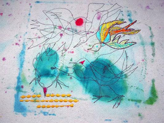 Futterneid, Monotypie auf Bauwolle bestickt, 40 x 33 cm