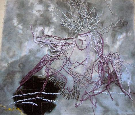 Trance 4, Baumwollstoff bemalt, bestickt 27 x 23 cm