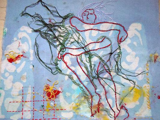 Trance 6, Baumwollstoff bemalt, bestickt 27 x 23 cm