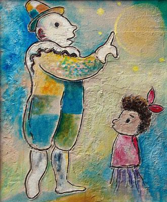 """""""Clown mit Kind"""", Mischtechnik auf Holz, 60 x 40 cm"""
