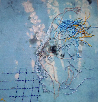 Trance 3, Baumwollstoff bemalt, bestickt 27 x 23 cm