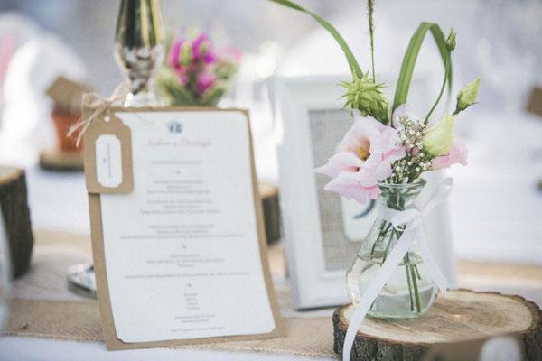 DIY Buffetkarten im rustikalen Hochzeitsstil