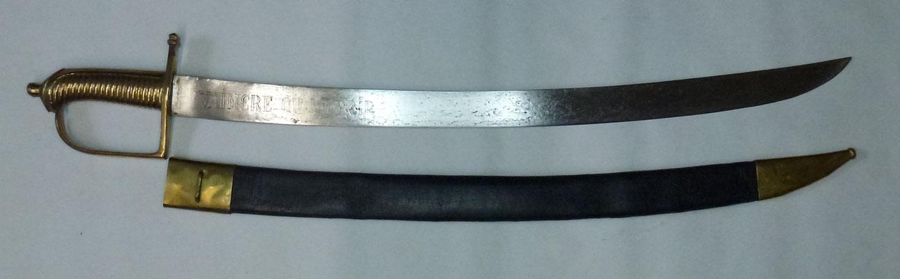 sabre briquet 1790 lame gravé
