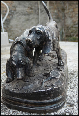 bronze animalier alfred Dubucand chiens setters