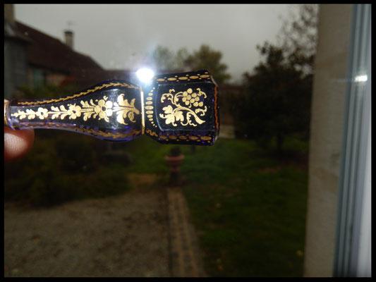 sceau souvenir argent et pierre bleu taillé améthyste