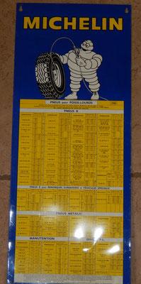 michelin tableau de gonflage pour poids lours.tôle litho. 1968 .43 x 83 .très bon état . prix: vendu