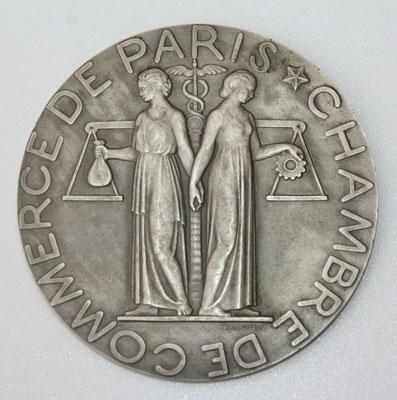 médaille chambre de commerce de paris  en argent (183 gr diam 75mm) par Pm Poisson  1929 prix : 180 euros